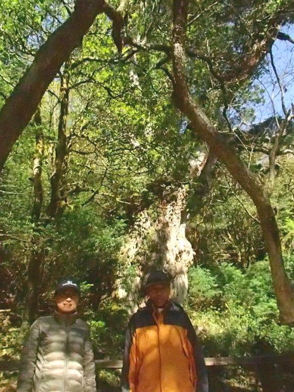 縄文杉の前で